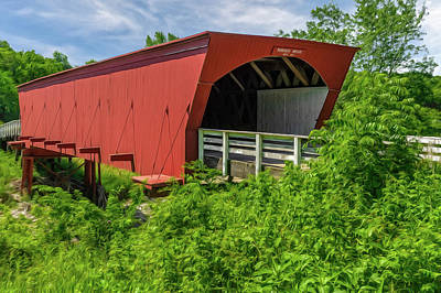 Photograph - Roseman Covered Bridge Madison County Iowa  -  Oil4 by Frank J Benz