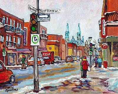 Painting - Rosemont Petite Patrie Montreal Winter Scene Art View Of Eglise Saint Edouard Quebec Art C Spandau by Carole Spandau