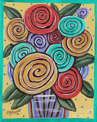 Folk Art Painting - Roses 1 by Karla Gerard