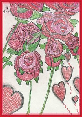 Balloon Flower Drawing - Roses A Bloom by Heather Parsons
