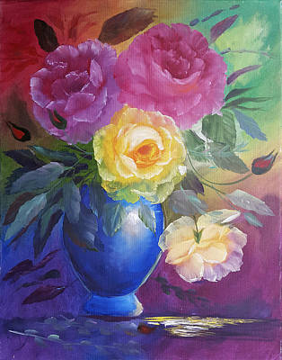 Rosaceae Painting - Roses And A Blue Pot by Russell Collins