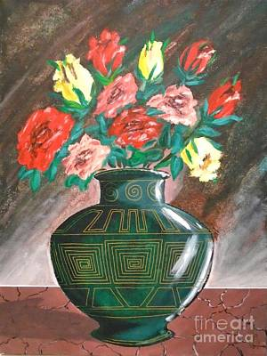 Painting - Roses And Blue Vase by John Lyes