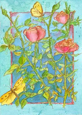 Painting - Roses And Butterflies by Cathie Richardson