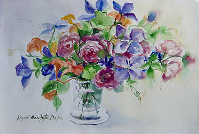 Painting - Roses And Clematis by Ingrid Dohm