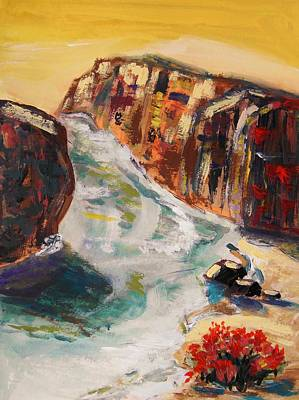 Morning Light Drawing - Roses And Cliffs by Mary Carol Williams