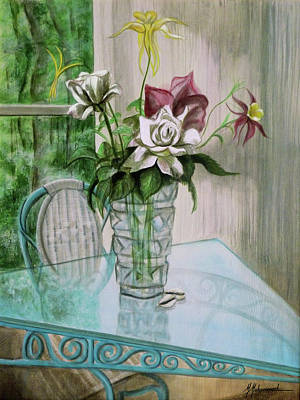 Roses And Columbine Art Print by Marcella Muhammad