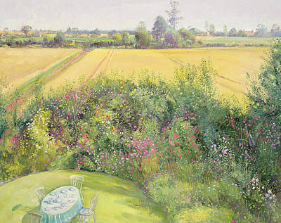 Roses And Cornfield Art Print by Timothy Easton