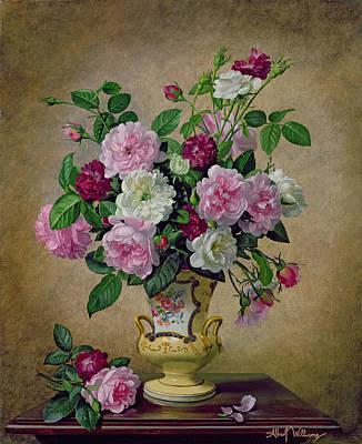 Roses And Dahlias In A Ceramic Vase Art Print