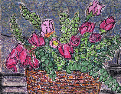 Drawing - Roses And Eucalyptus In Basket by Gerhardt Isringhaus