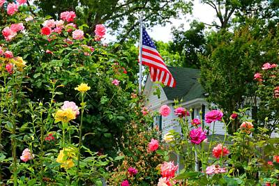 Photograph - Roses And Flag by Kathryn Meyer