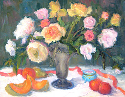 Cantaloupe Painting - Roses And Fruit by Bunny Oliver