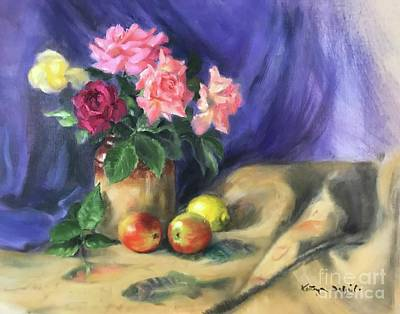 Painting - Roses and fruit by Kathryn Dalziel