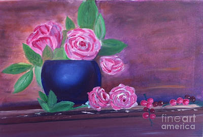 Roses And Grapes Art Print by Rod Jellison