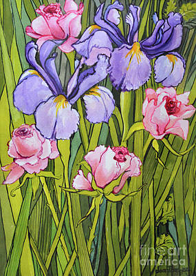 Bouquets Of Pink Flowers Green Blue Painting - Roses And Irises In The Garden by Joan Thewsey