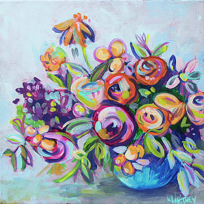 Purple Flowers Painting - Roses And Kumquats by Kristin Whitney