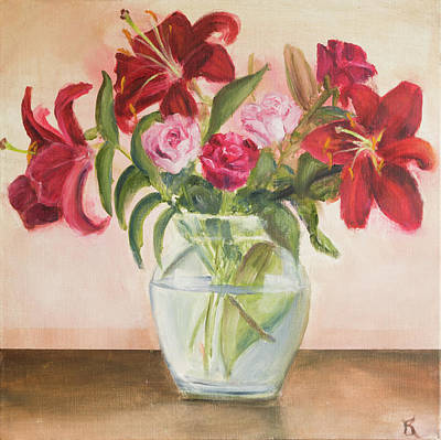 Painting - Roses And Lilies by Kathryn Bell