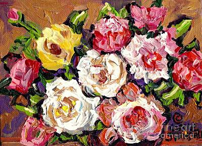 Painting - Roses And More Roses Colorful Floral Bouquet Original Painting By Carole Spandau                     by Carole Spandau