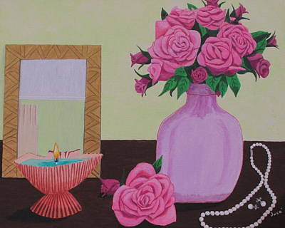 Painting - Roses And Pearls by Hilda and Jose Garrancho