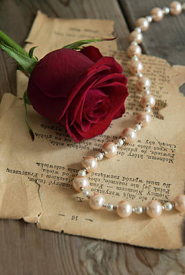 On Paper Photograph - Roses And Pearls by Jaroslaw Blaminsky