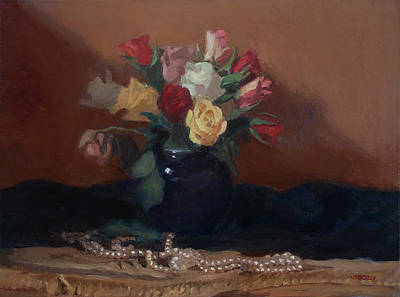 Painting - Roses and Pearls by Walter Lynn Mosley