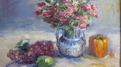Roses And Pepper Still Life Art Print