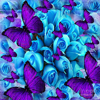 Painting - Roses And Purple Butterflies by Saundra Myles