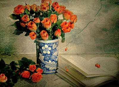 Photograph - Roses And Read by Diana Angstadt