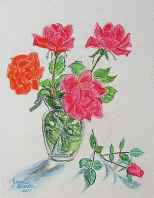 Rosebud Drawing - Roses And Rosebud by Jeannie Allerton