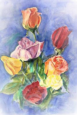 Painting - Roses And Roses by Khalid Saeed