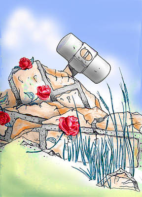 Garden Tools Drawing - Roses And Sledgehammer by Randall Easterling