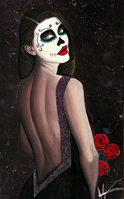 Dotd Painting - Roses And Sparkles by Aaron  Montoya