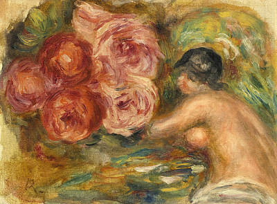 Painting - Roses And Study Of Gabrielle by Pierre-Auguste Renoir