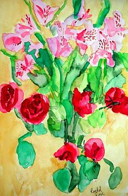 Painting - Roses And Tiger Lilies by Rachel Rose