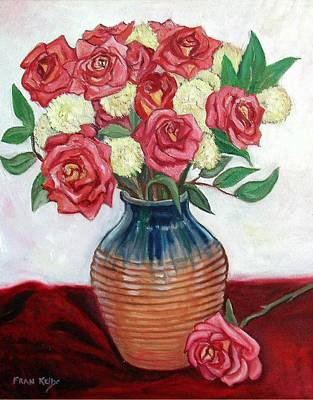 Painting - Roses And Vase by Fran Kelly