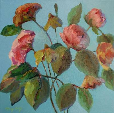 Painting - Roses And Wildflowers by Mary Wolf