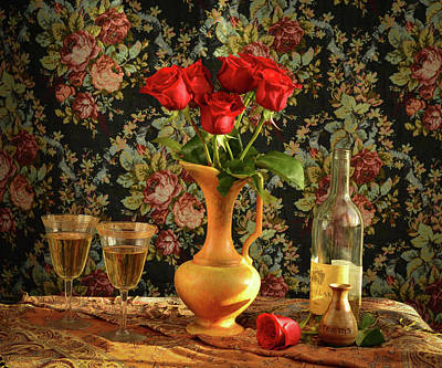 Wall Art - Photograph - Roses And Wine by Wendy Blomseth