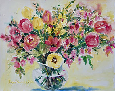 Painting - Roses Andtulips by Ingrid Dohm