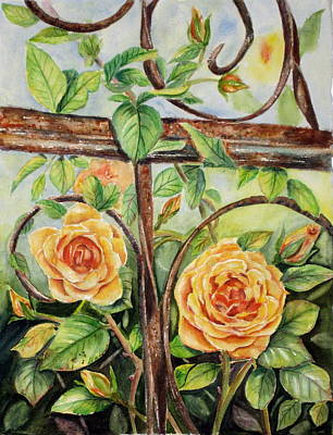 Roses At Garden Fence Art Print by Patricia Pushaw