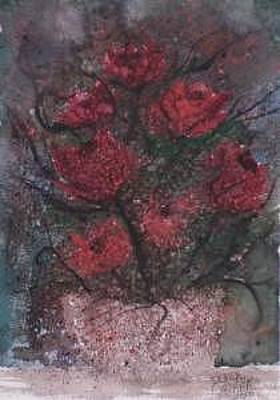 Best Sellers - Surrealism Royalty-Free and Rights-Managed Images - ROSES AT NIGHT gothic surreal modern painting poster print by Derek Mccrea