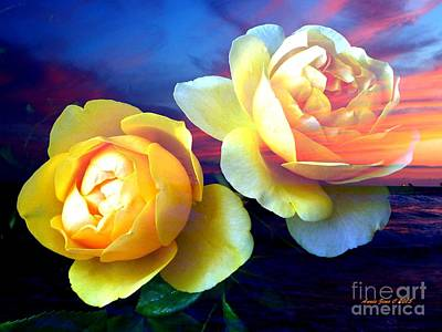 Photograph - Roses Basking In A Ocean Sunset by Annie Zeno