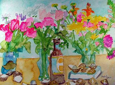 Painting - Roses Beer Shells And Flowers by Rachel Rose