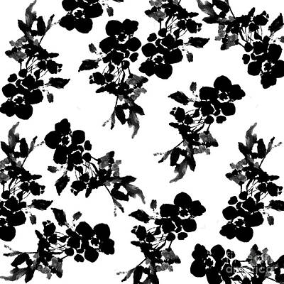 Painting - Roses Black And White Watercolor Pattern by Saundra Myles