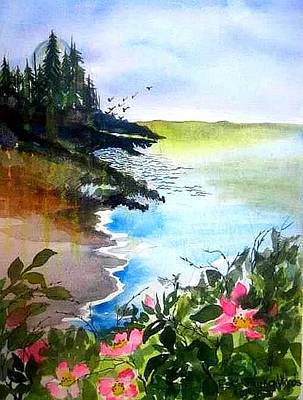 Painting - Roses By The Ocean by Esther Woods