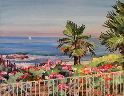 Laguna Beach Painting - Roses By The Sea Laguna Beach by Robert Gerdes