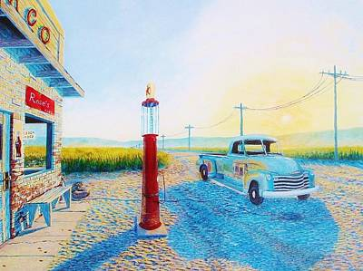 1953 Chevrolet Truck Painting - Roses Cafe 1953 Chevy Pickup by Susan Schneider