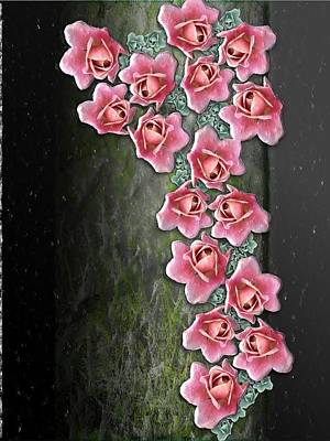 Digital Art - Roses Climbing Pillar by Michael Hurwitz