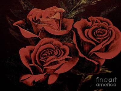 Digital Manipulation Painting - Roses by Deborah Broderick
