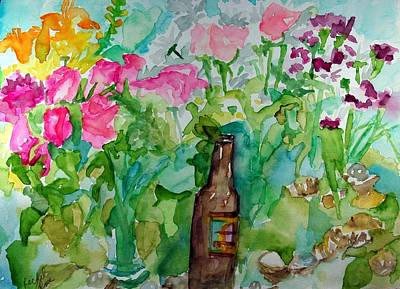Painting - Roses Flowers Bear And Shells by Rachel Rose