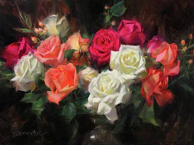 Orange Flower Wall Art - Painting - Roses For Kim by Anna Rose Bain