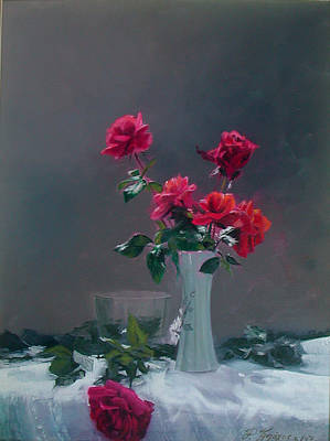 Painting - Roses From My Wife by Demetrios Vlachos